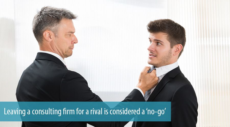 Leaving a consulting firm for a rival is considered a 'no-go'