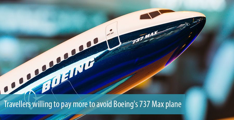 Travellers willing to pay more to avoid Boeing's 737 Max plane