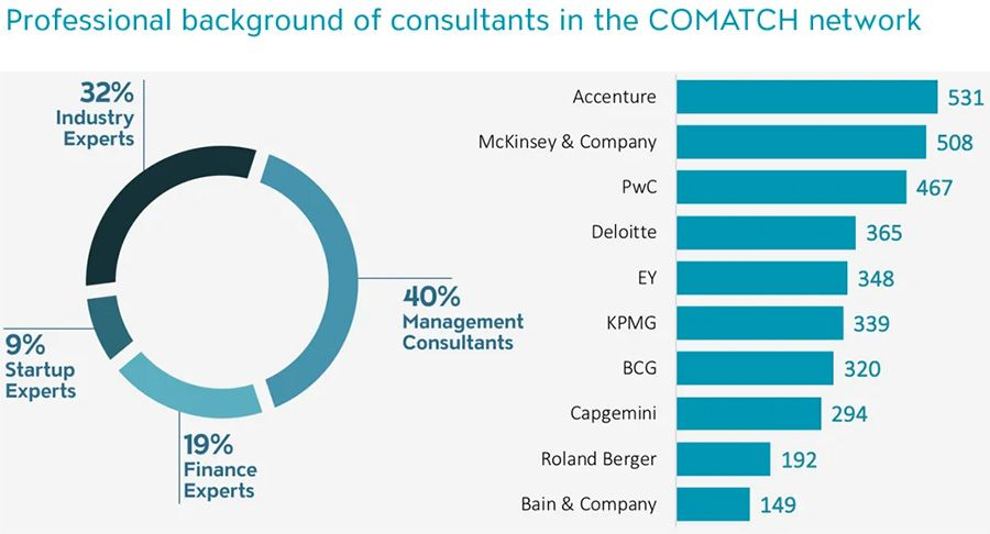 Professional background of consultants in the COMATCH network