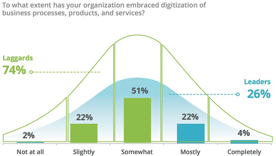 To what extent has your organization embraced digitization of business processes, products, and services?