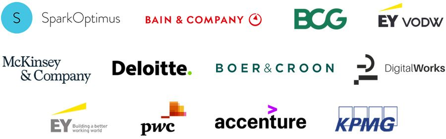 SparkOptimus, Bain & Company, Boston Consulting Group, EY VODW, McKinsey & Company, Deloitte, Boer & Croon, DigitalWorks, EY, PwC, Accenture, KPMG