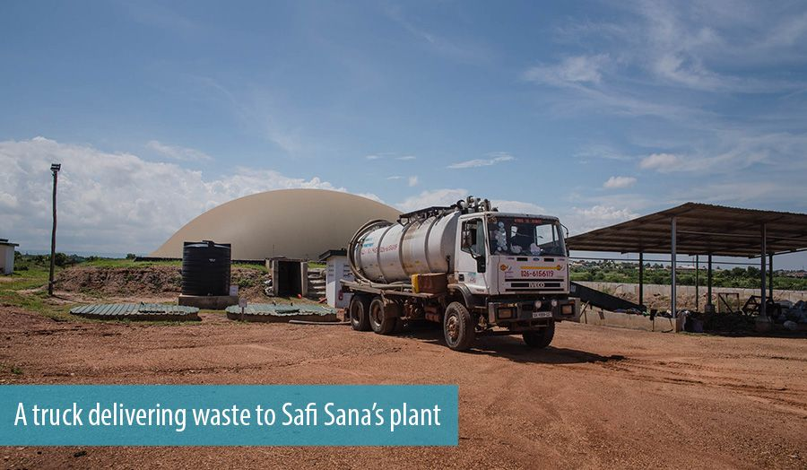 A truck delivering waste to Safi Sana's plant
