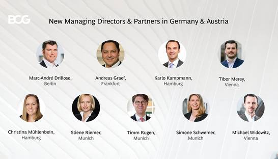 BCG appoints nine new partners in Germany and Austria
